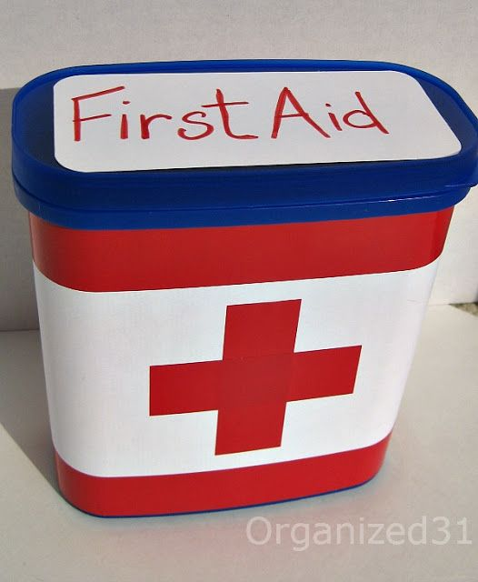 Repurposed Nestle Quick container to first aid kit!