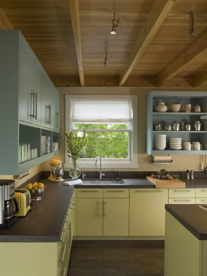 eclectic kitchen by Studio Sarah Willmer Get rid of lurking grime in the kitchen -- trash cans, light fixtures...