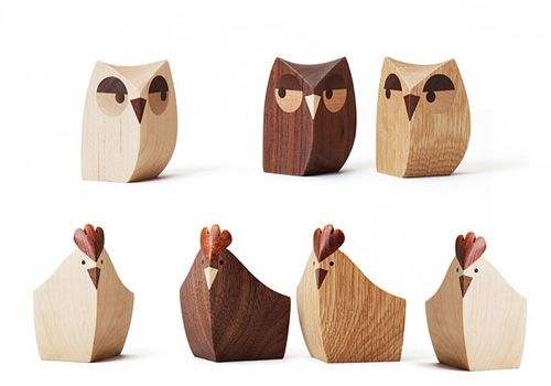 Wooden owls and chicken #wood