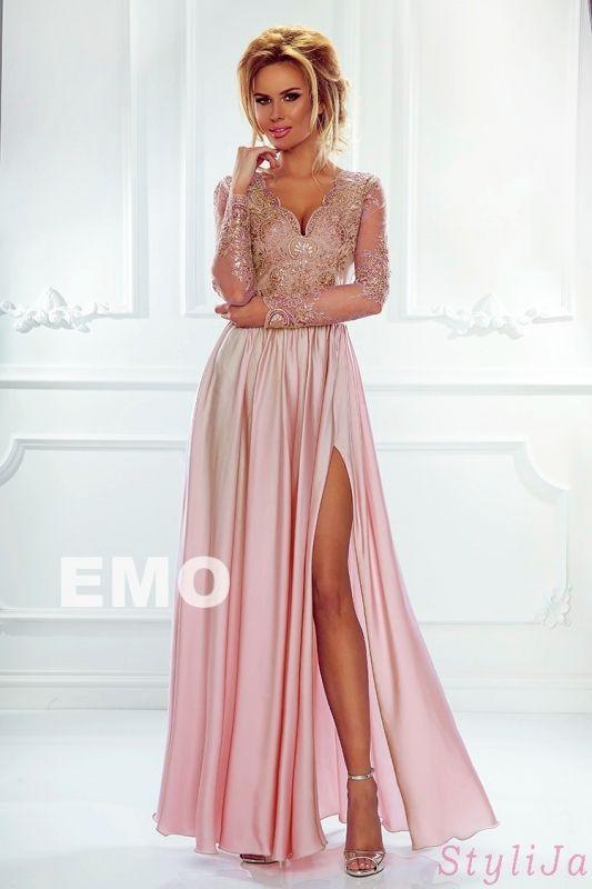 808f0a8f08 Evening long dress with lace with cut on leg. Wieczorowa suknia z długim  tiulowym rękawem - Luna brzoskwiniowo różowa