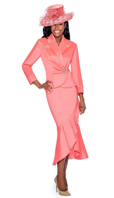 b50d6def860 Style Giovanna 0889-PK 2pc Women s Church Suit in stretch taffeta with  rhinestone brooch and ruffled wrap skirt. Colors Pink Sizes 10 12 14W 14 16  16W 18 ...