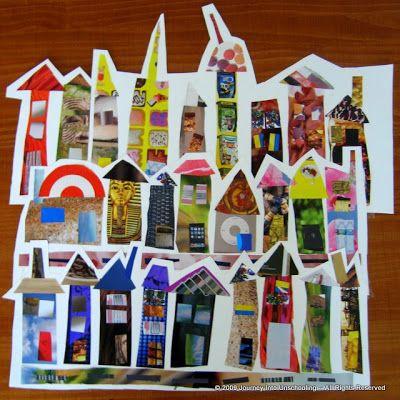 Découpage et collage de vieux magasines pour faire des maisons