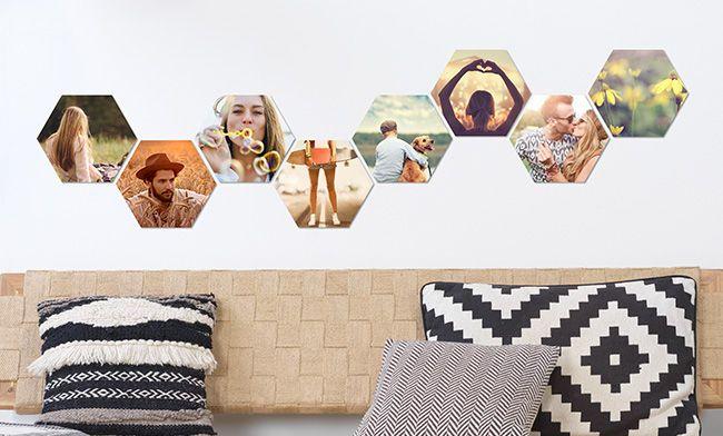 hexxas 6 eckige fotokacheln kreative wanddeko dm foto paradies collage fotoleinwand leinwand in sepia bestellen online