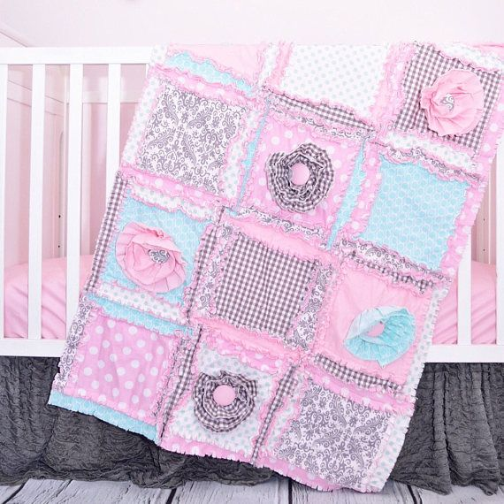 baby bedding set for floral nursery made in gray mint light pink the