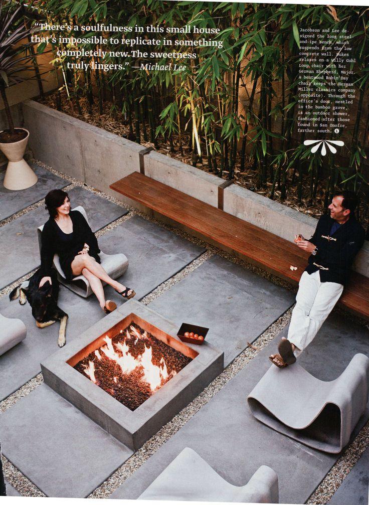 Rectangular concrete slab patio with built in fire pit for Fire pit on concrete slab