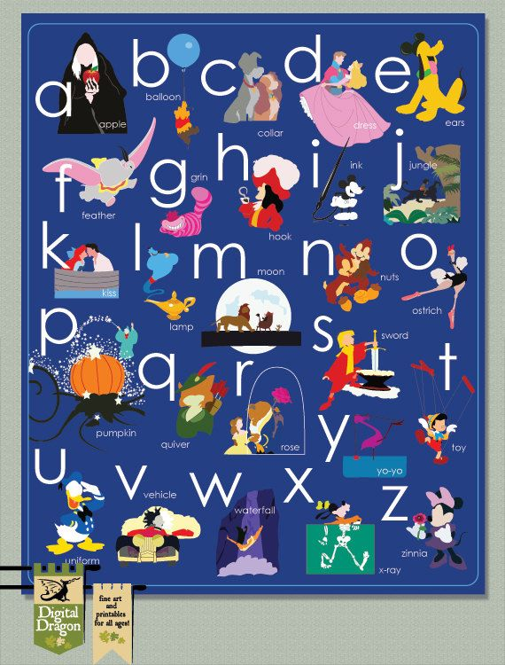 Disney Alphabet Toddler poster decor you pick your by DigDragon, $12.00