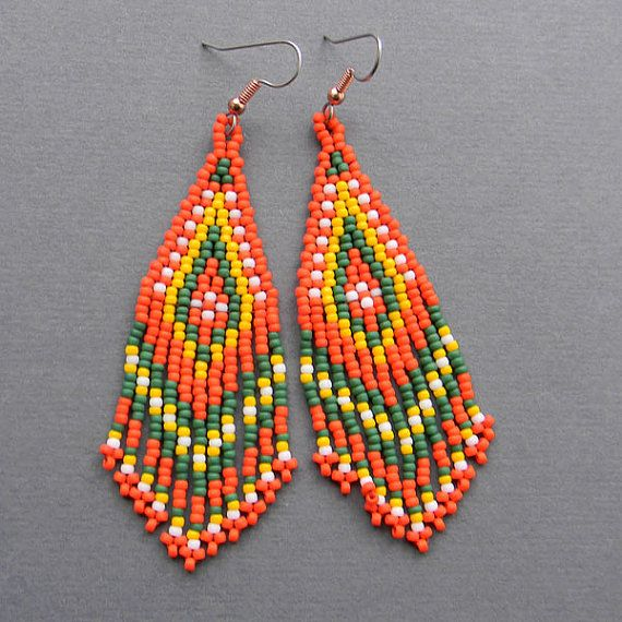 Orange Yellow and Green Native American Style  by Anabel27shop, #beadwork #earrings #jewelry