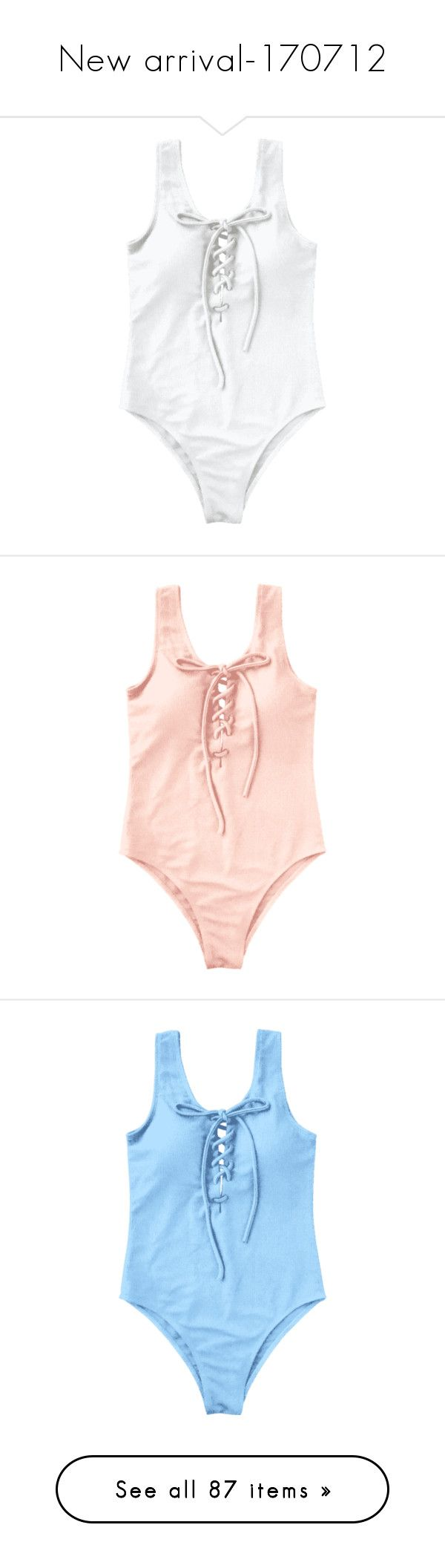 """New arrival-170712"" by zaful ❤ liked on Polyvore featuring swimwear, one-piece swimsuits, white one piece bathing suit, white swimsuit, lace up one piece bathing suit, lace up swimsuit, one-piece swimwear, padded swimwear, padded bathing suits and lace up bathing suit"