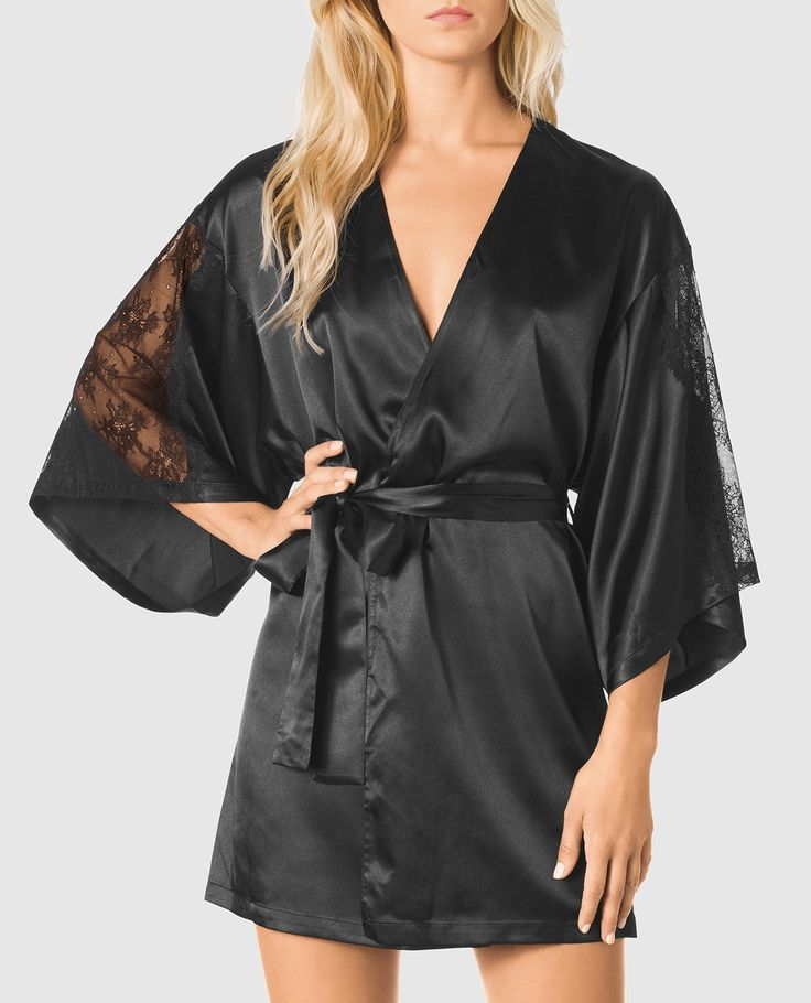Satin Kimono with Lace Sleeve - New Arrivals - La Senza Lingerie