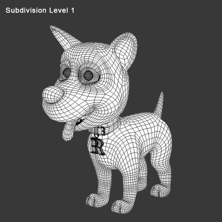 3d model cartoon dog rex - edge flow