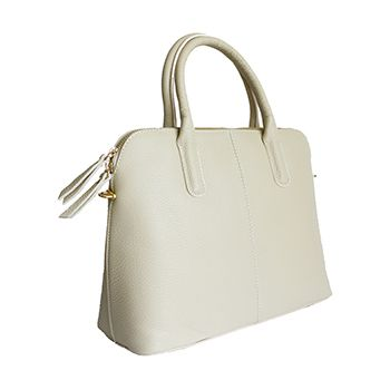 Serafina Italian Beige Leather Dome Handbag - £54.99