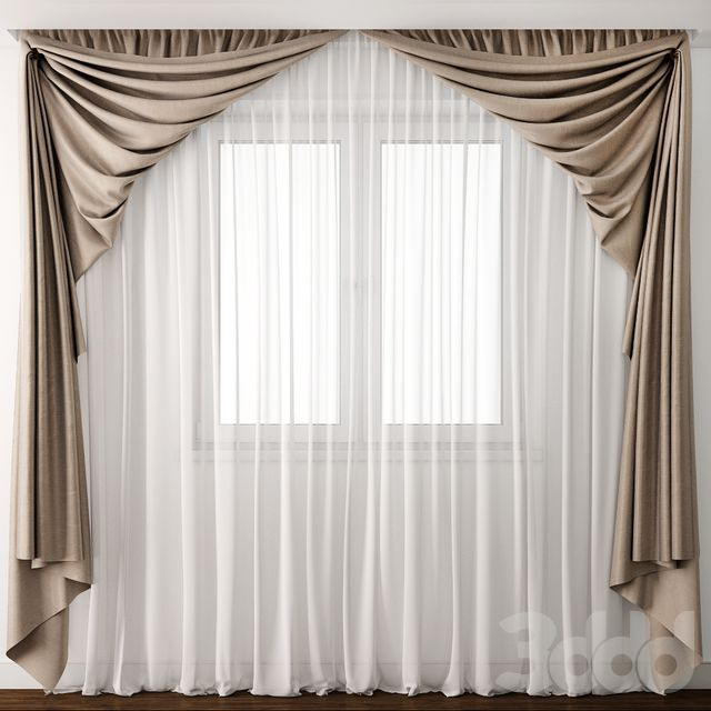 Oversized curtain to make small window look bigger