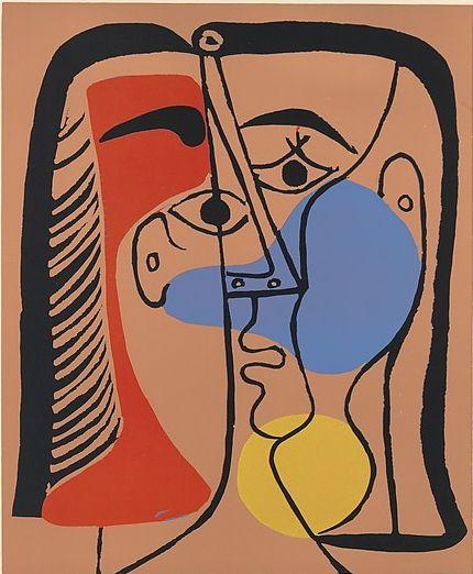 Pablo Picasso (1881–1973), 1962, Jacqueline with smooth hair,  Linoleum cut.
