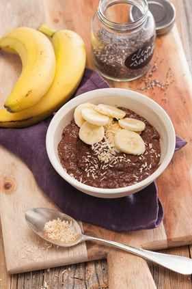 Kakaový krém s chia semínky a banánem