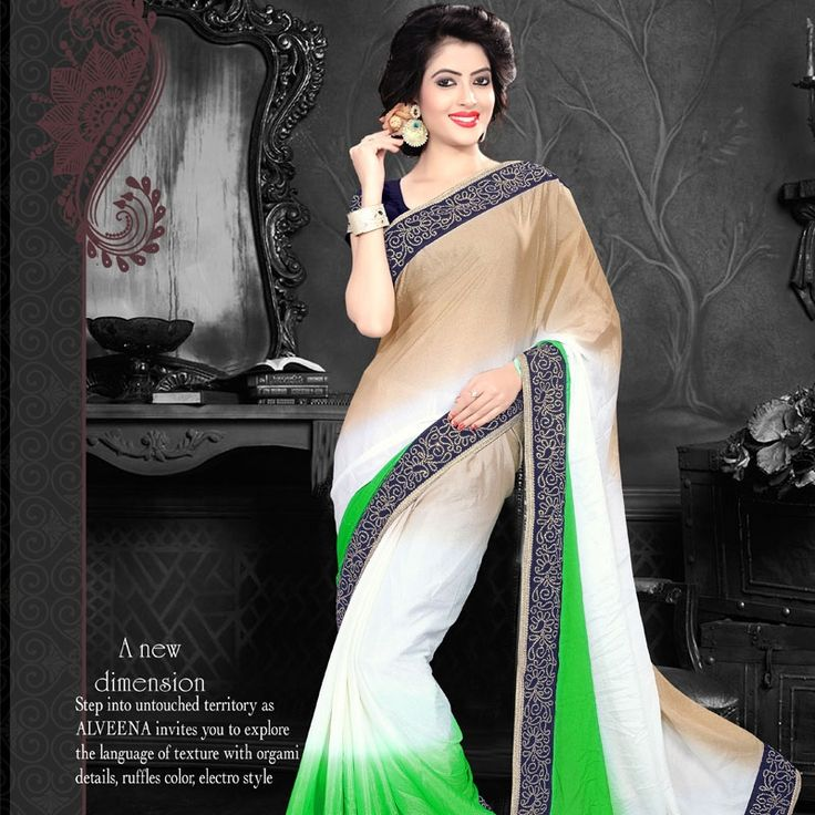 Shop new green chiffon classic designer saree.  #saree #chiffon #fashion