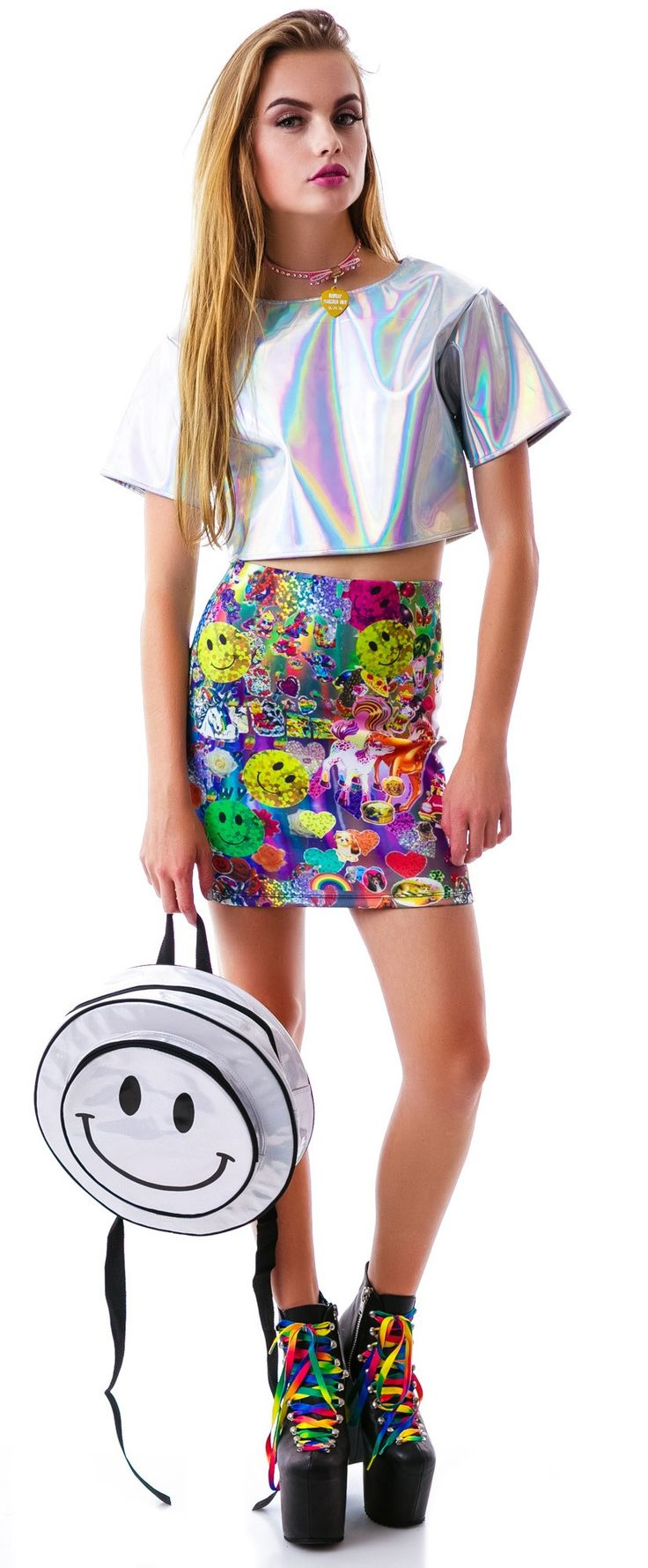 O Mighty Smiley From Acid Hologram Backpack | Dolls Kill