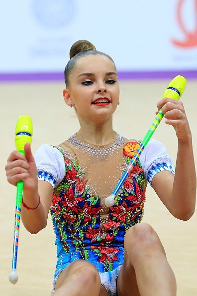Arina Averina of Russia performs the clubs exercise in the final the International Rhythmic Gymnastics Championship at the Alina Cup Grand Prix 2016...