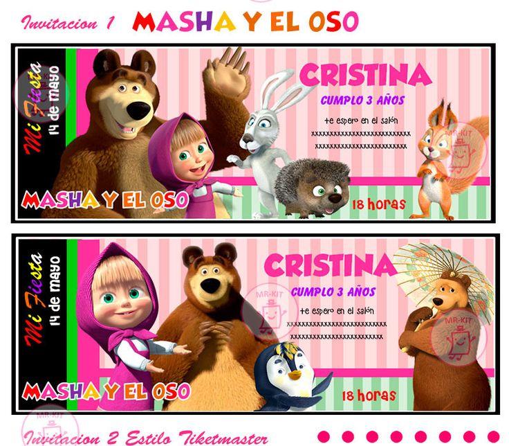 Kit Imprimible Masha Y El Oso Diseña Tarjetas Y Mas #1 - $ 59.99