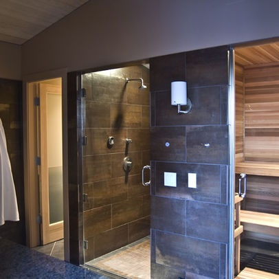 One side shower and one side sauna