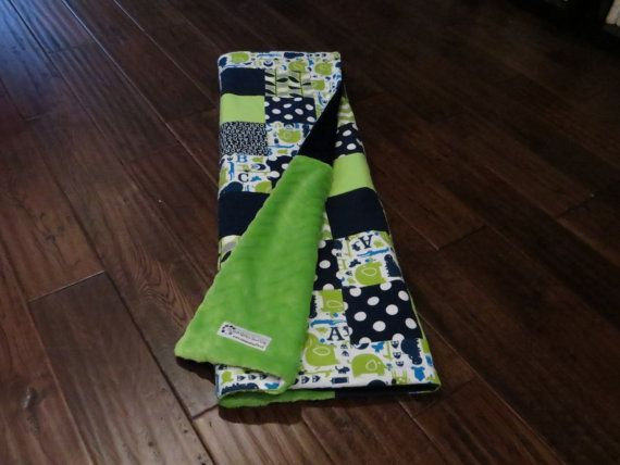 Navy and Lime Baby Blanket / Quilt  Modern Baby by sosweetquilts