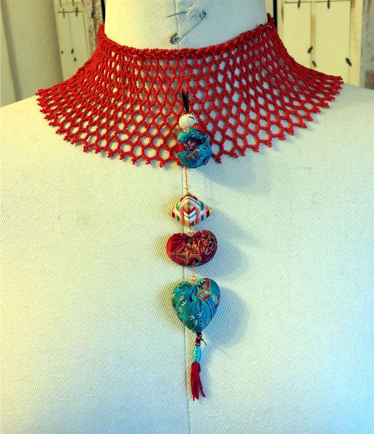 1 Antique White Heart Red Trade Bead Handwoven Shanghai Silk Bib Collar Necklace #China