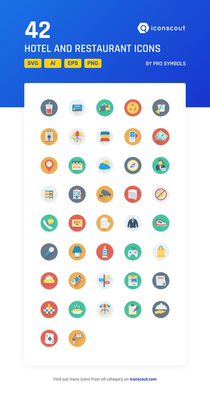 Hotel And Restaurant  Icon Pack - 42 Flat Icons