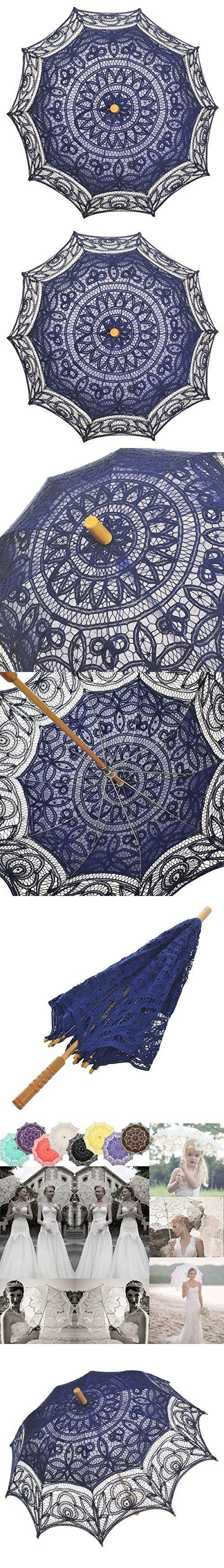 Remedios(19 colors) Lace Parasol Umbrella Wedding Bridal Decoration Royal Blue