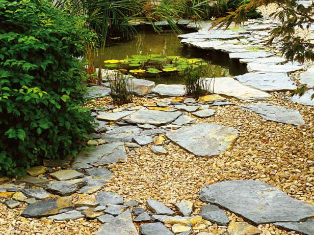 For backyard by firepit in this garden with a pond for Garden pond gravel