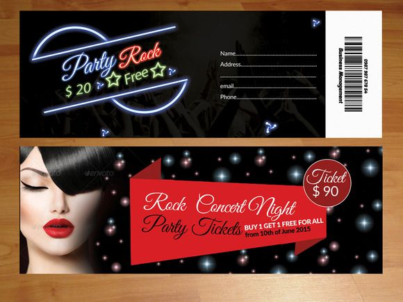 2 Party Tickets Template by Psd Templates on @creativemarket