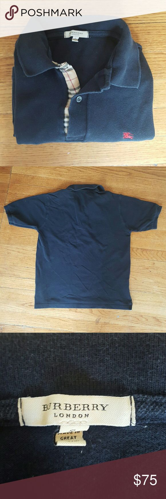 BURBERRY MENS BLACK POLO SHIRT size small BURBERRY LONDON BLACK POLO SHIRT NOVACHECK PRINT GUC ALITTLE FADING  NOT NOTICEABLE SIZE SMALL SHORT SLEEVE MADE IN GREAT BRITAN! Burberry Shirts Polos