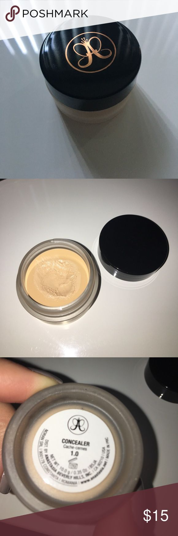 Anastasia Beverly Hills Concealer 1.0 Gently used. Too yellow for my skin tone. Creamy and full coverage concealer. Anastasia Beverly Hills Makeup Concealer