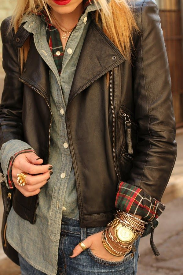 I want a leather jacketttttt!   Love everything about this.Fashion, Style, Clothing, Fall, Outfit, Buttons, Plaid Shirts, Leather Jackets, Chambray