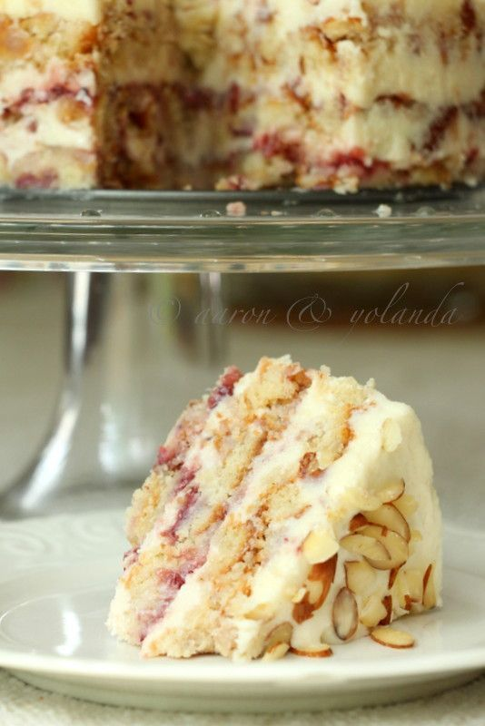 Doesn't this look AMAZING?! Strawberry Almond Layer Cake via Love with Recipe