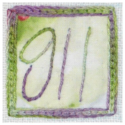 911 Penstemon - Chain stitch & stem stitch. Application of fabric square.
