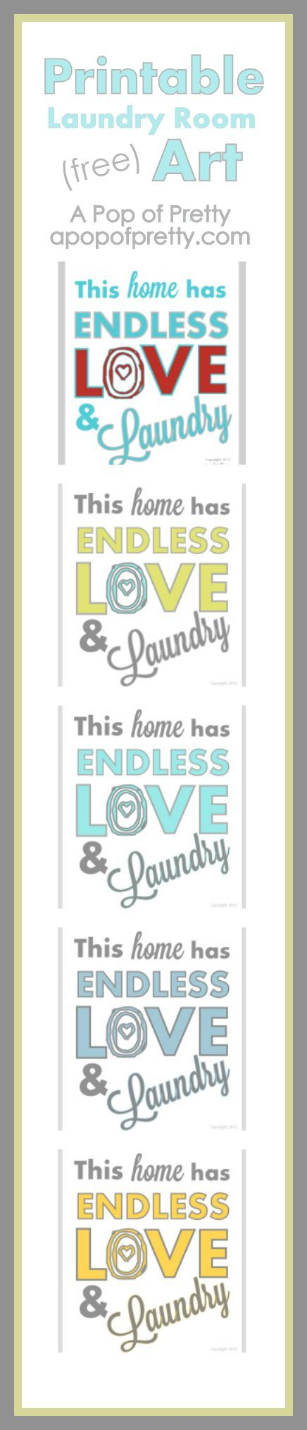 Free printable art for a laundry room in a bunch of new colors, from A Pop of Pretty, apopofpretty.com.