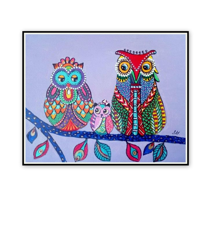 Original abstract painting-Colorful owls 2 -Birds painting-Colorful painting-A small picture-A small canvas-Acrylic painting-Home gift-Owls by ArtSunday on Etsy