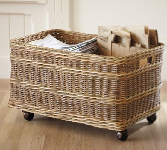 I LOVE furniture and items on wheels because you can change the look and feel of your environment with ease. I might use this for toys, crafts or ...?  It's almost too beautiful for lowly recycling. What about you?