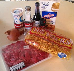Crockpot Beef Stroganoff: Use recipe from cookbook just in the crockpot...1 can beef broth, fresh mushrooms sliced, ketchup, etc.