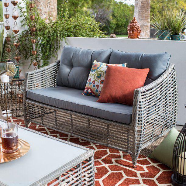 Belham Living Kambree All Weather Wicker Loveseat With Cushion Walmart Com In 2020 Wicker Loveseat Patio Furniture Cushions Outdoor Loveseat
