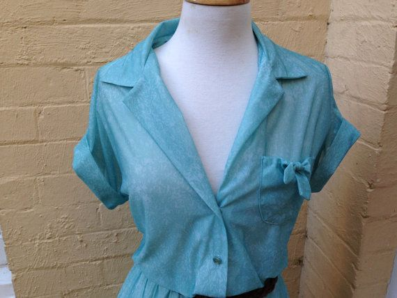 70's Aqua Print dress size 14/16 US size by PearlsVintageCloset