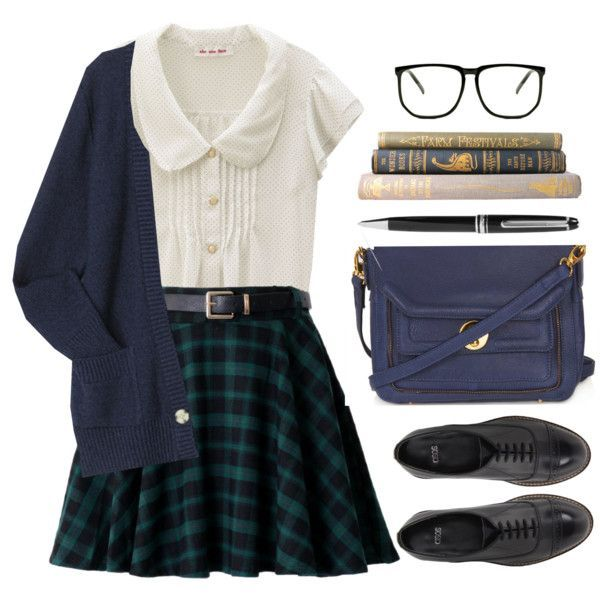 You can do color block on school uniforms but you must pick the dark shades. Combine a green plaid skirt with a feminine white shirt and a royal blue cardigan. Complete it with black oxfords and a blue parcel bag.