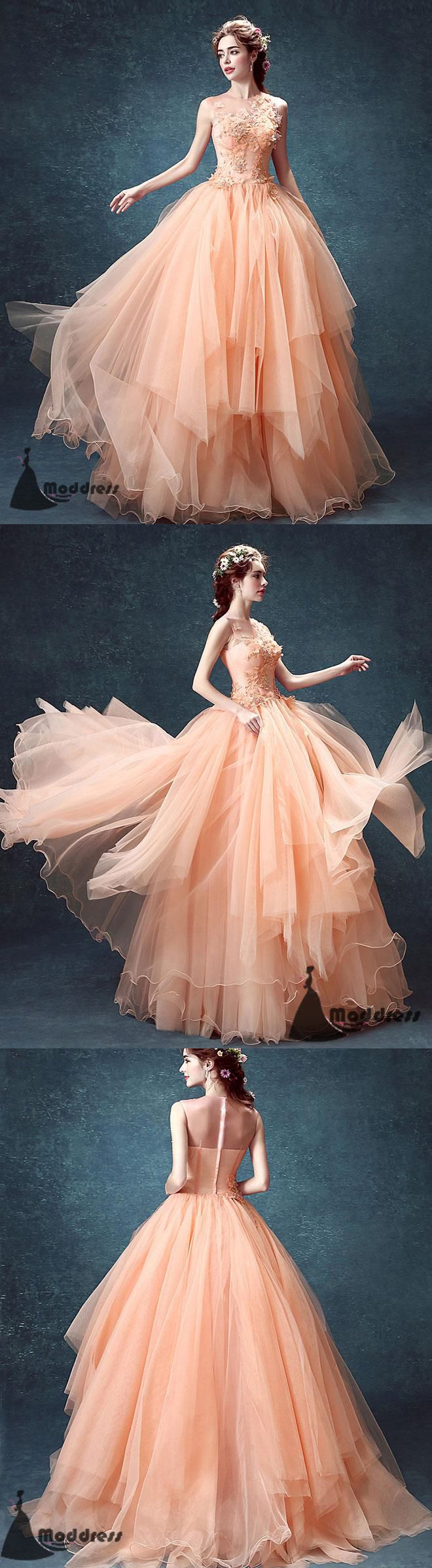 Applique Long Prom Dress Scoop Evening Dress Tulle Ball Gowns Formal Dress,HS532 #fashion#promdress#eveningdress#promgowns#cocktaildress
