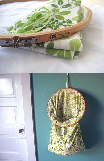 Vintage embroidery hoop and pillow case repurposed into hanging storage, from Hello Refabulous.