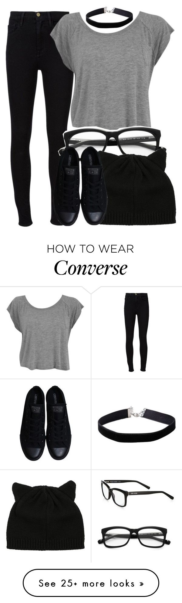 """It defeats the purpose"" by annahcat on Polyvore featuring Frame Denim, Bobbi Brown Cosmetics, Converse and Miss Selfridge"
