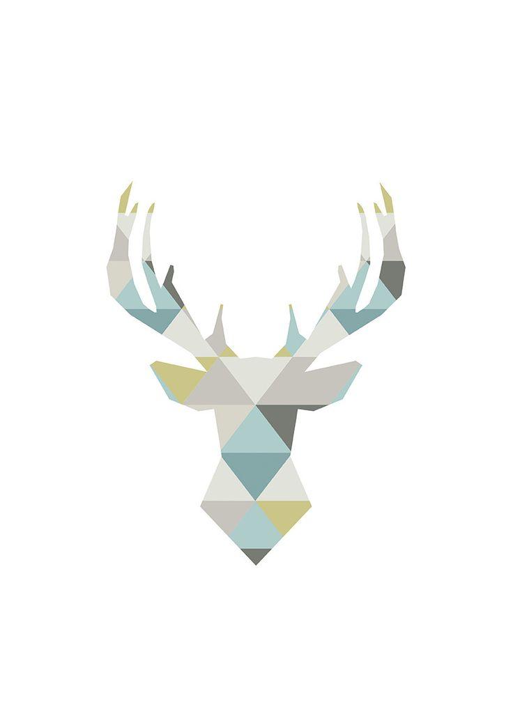Affiche scandinave pastel - Cerf origami - A3 - Décoration intérieure - Illustration vectorielle - à télécharger - Mes P'tites Impressions