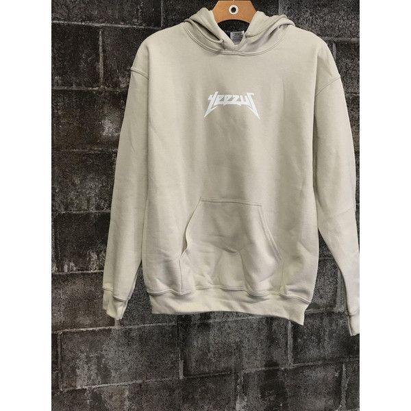 Kanye West Yeezus Tour Hoodie (410 CZK) ❤ liked on Polyvore featuring tops, hoodies, brown top, rock tops, brown hoodie, hoodie top and hooded pullover