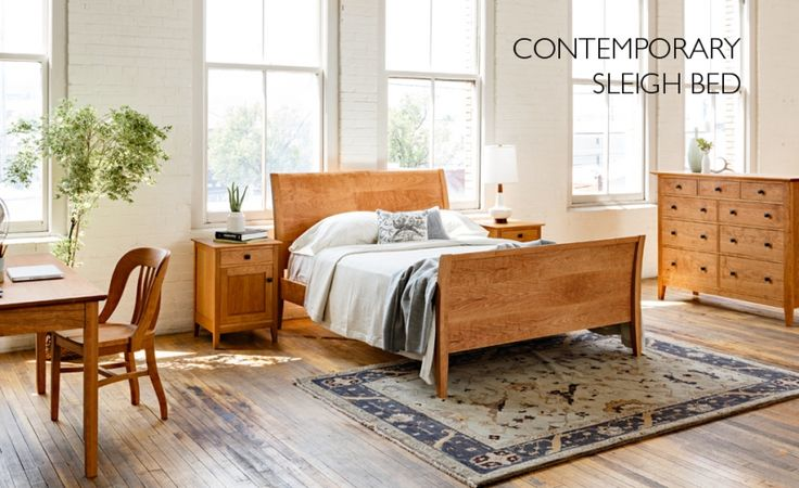Contemporary Sleigh Bed with Dunning Nightstand and Dresser made with sustainably harvested Cherry