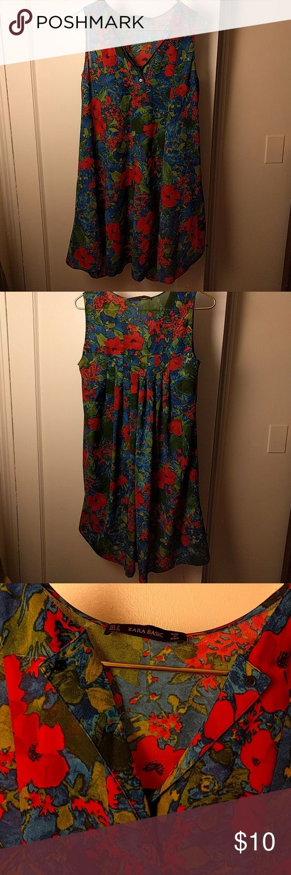 Floral sheer Zara Basic dress/cover-up Floaty, floral Zara Basic dress with pleated detail on the back. Sheer fabric, so best to layer over a slipdress or wear at the beach over a swimsuit. Can be kind of 60s in mood if styled right.  100% polyester. Good condition. Zara Dresses Midi