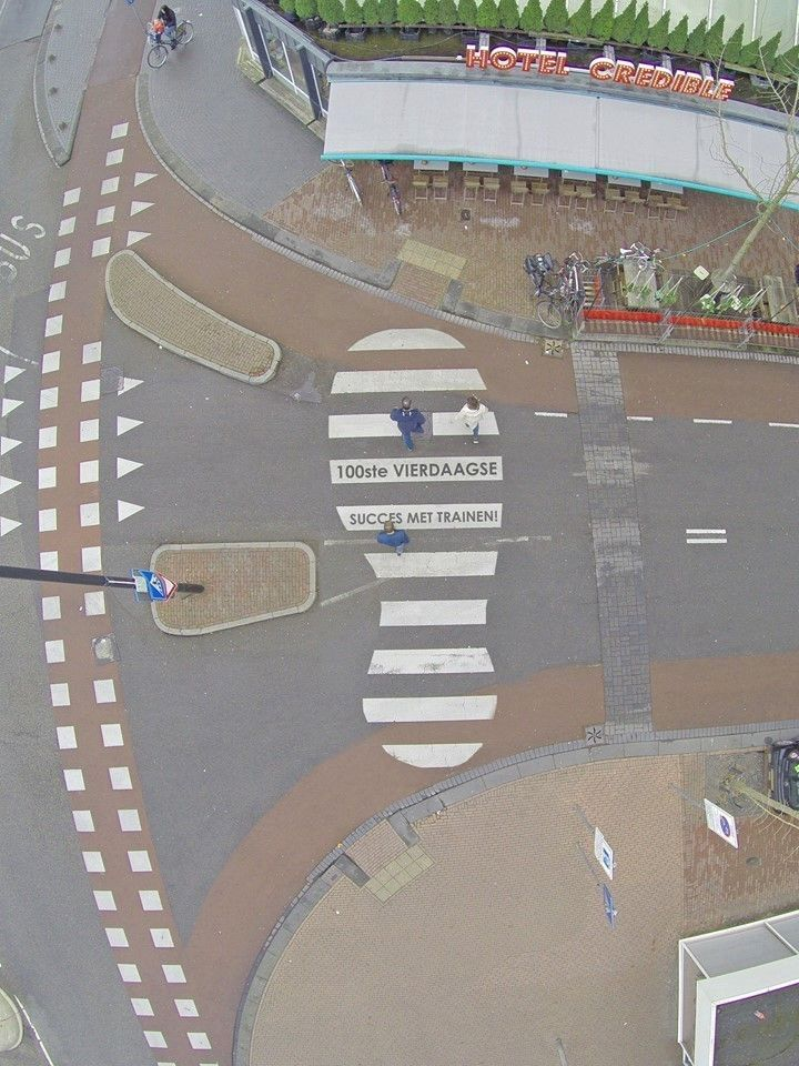 Zebra crossing in Nijmegen, special painted for the  100th Four Days Marches 19-22 July 2016