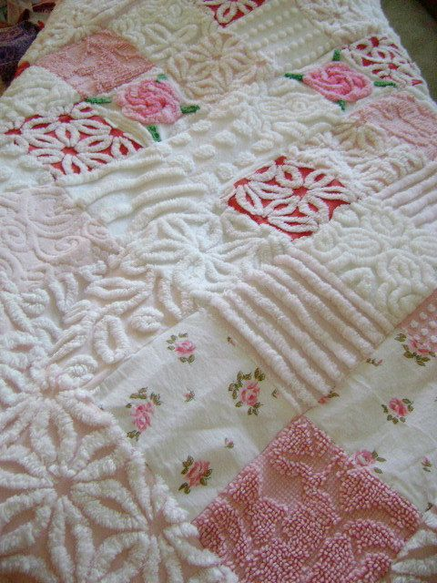 BELLE FLEUR Vintage Chenille Quilt / Throw Pink by TWFaith